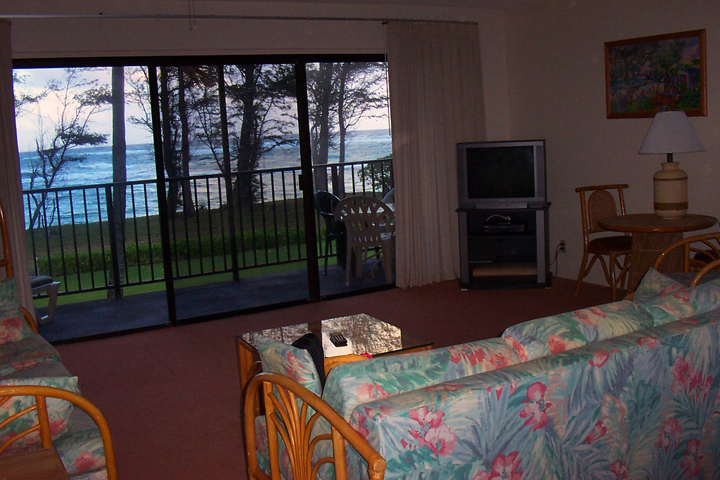 The view of the ocean from the living room.