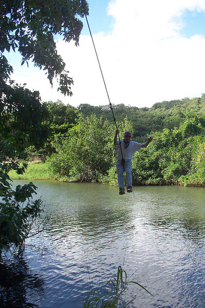 This is me swinging from the tree that was used in the opening part of Raiders of the Lost Ark. The Kipu Ranch that we are touring was used to film a lot movies, they named a few but I forgot which ones they were. Photo by Helen