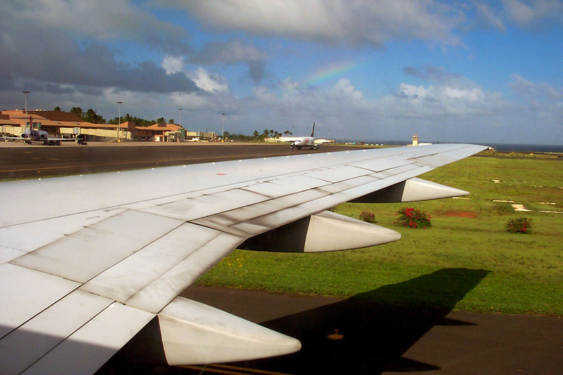 At the Lihue Airport on Kauai we saw our first of many rainbows here.