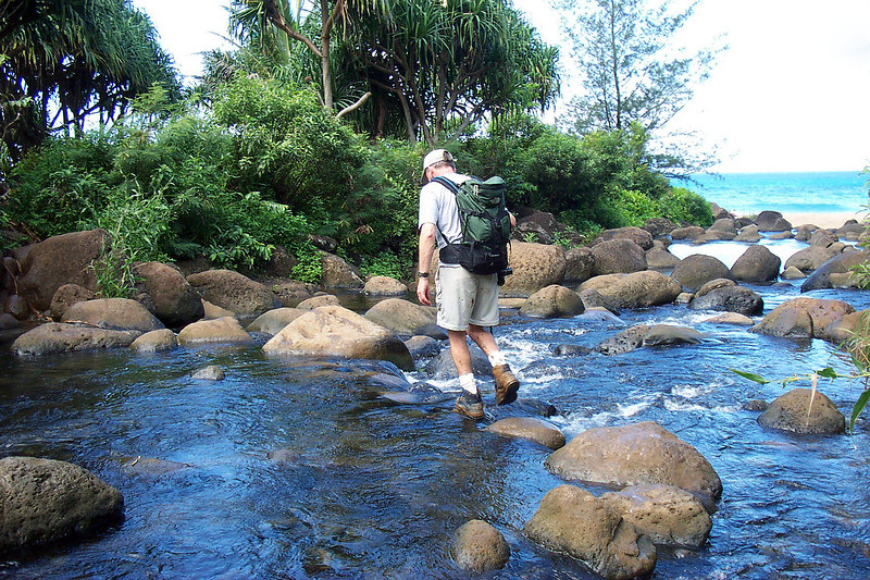 Crossing the stream just before reaching the beach. Photo by Helen