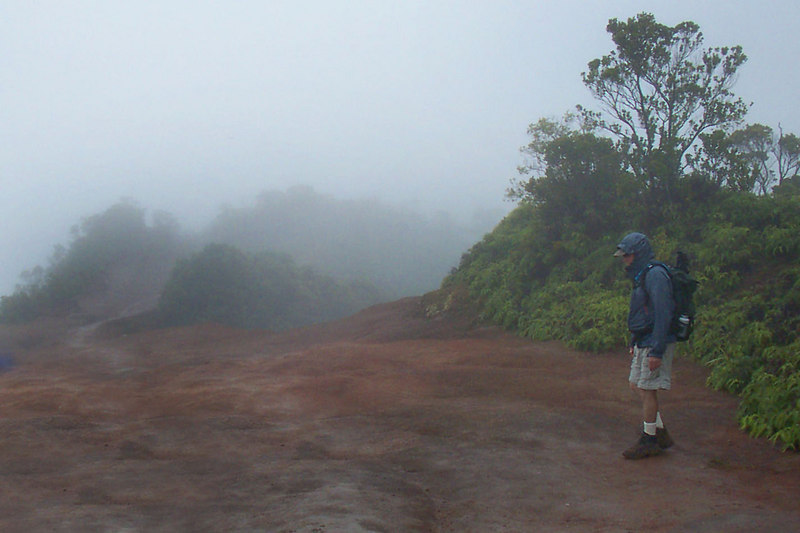 It didn't take long for the rain to start up again. We knew that we would have some rainy days on Kauai, after all the island's Mt Waialeale at about 5,200' is the wettest place on earth. Photo by Helen