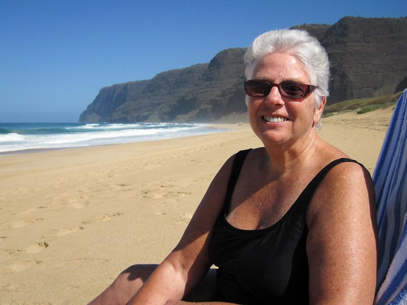Beth loving the sun at Polihale Beach Park