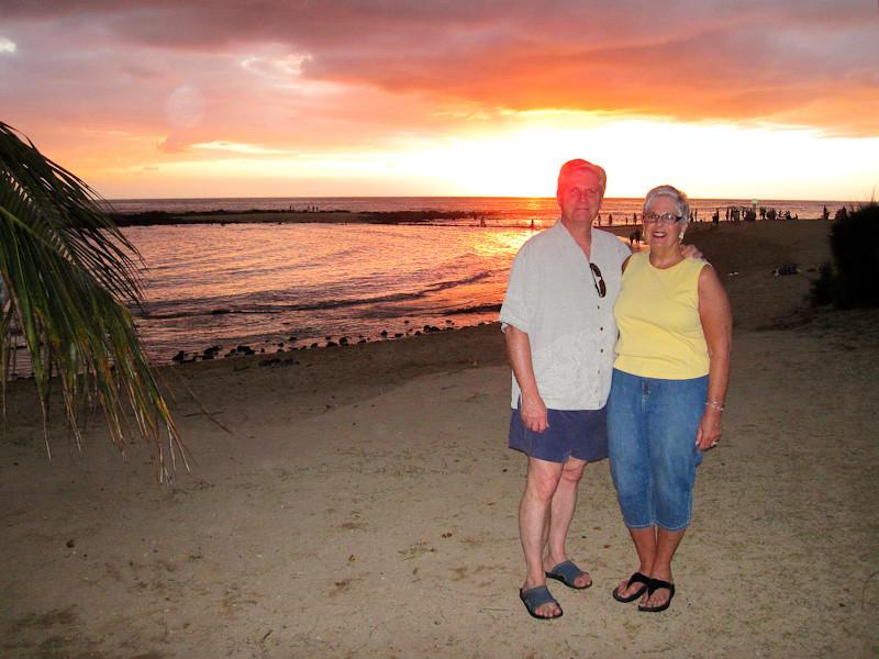 Beth and I at a Poipu sunset