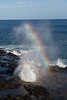 """Spouting Horn, Koloa. This """"spout"""" can shoot a lot higher, but I was more interested in the nice rainbow."""