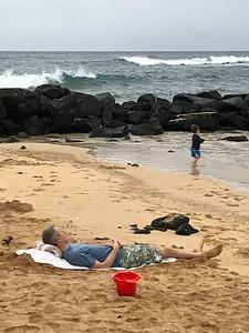 Shane & Finn at Poipu Beach