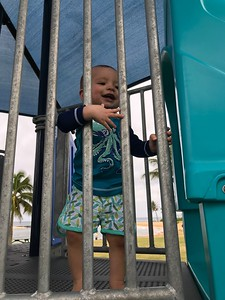Asher playing at Poipu Beach