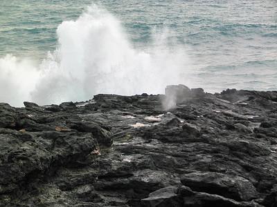mini blowhole at Point at Poipu