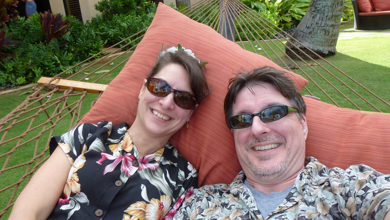 In one of the hammocks at the hotel (Courtyard Marriott at Coconut Beach).