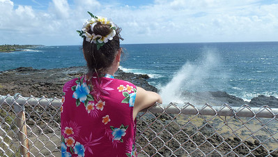 Diane looking at the Spouting Horn