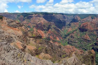 Vivid Red and Green Canyon Walls