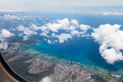 Preparing to land in Honolulu