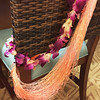 The fading lei, plus silken yarn from the Twisted Turtles.