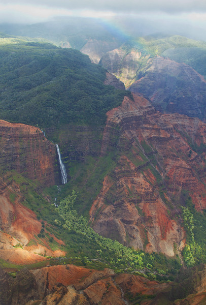 The Waimea Canyon with Waipo'o Falls AND a rainbow. Awesome!