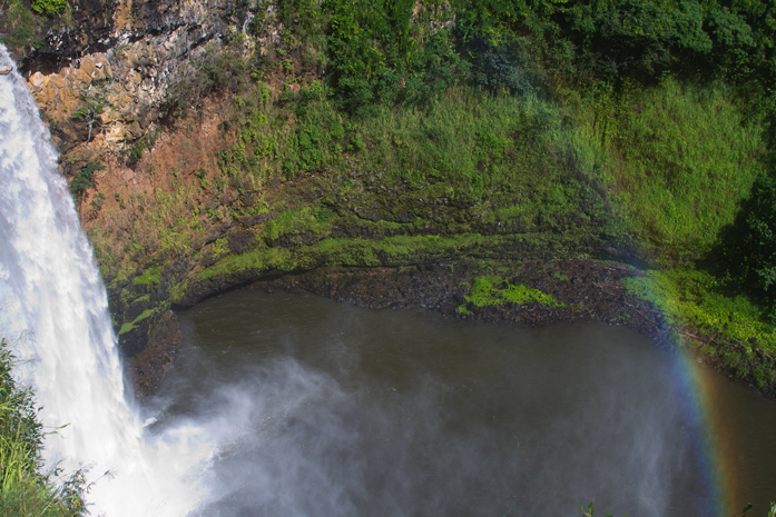 After dropping Barbara off at the airport, I found the well-known Wailua Falls.  It was this close to the road and hard to shoot without a wide-angle lens.  But I just had to get the rainbow in the shot.  ;-)