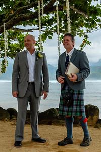 Stuart and Gavin await the bride
