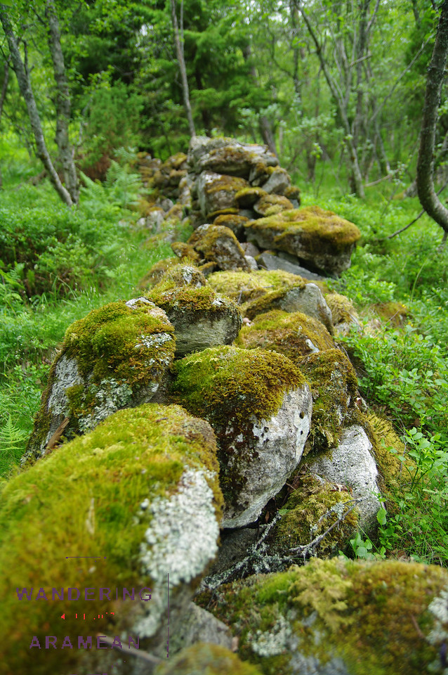 An old stone wall in the fields