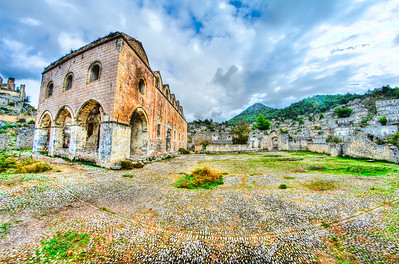 Church in the ghost town of Kayaköy (Levissi), Fethiye, Turkey