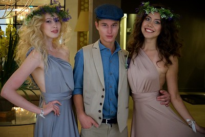 Girls and boy dressed up for summer party in the Doubletree Hilton, Kazan.