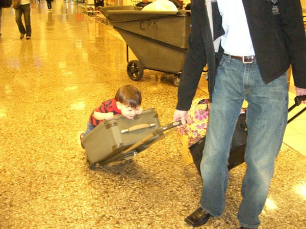 Who needs a stroller when you have roller luggage?