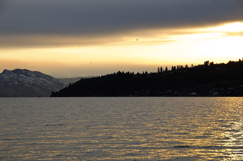 Sunset looking across the lake from Kelowna
