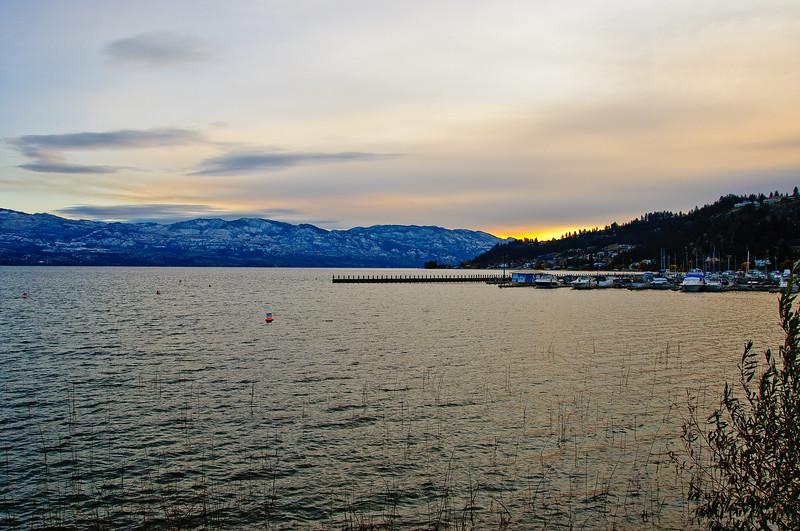 Marina near Kelowna bridge near sunset
