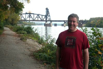 Steve & awesome lift bridge, in Louisville, from river front trail.