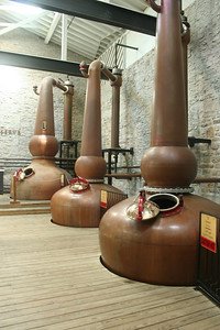 Three copper stills: a rarity for bourbon distilleries. Normal for scotch-making, however. These came from Scotland.