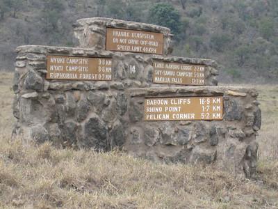 Roadsign in Lake Nakuru National Park.