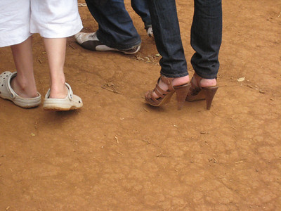 And on the right we have my nomination for the Most Inappropriate Footwear To Wear To An Elephant Sanctuary.