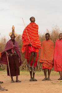Masai warrior dancing and jumping, Kenya