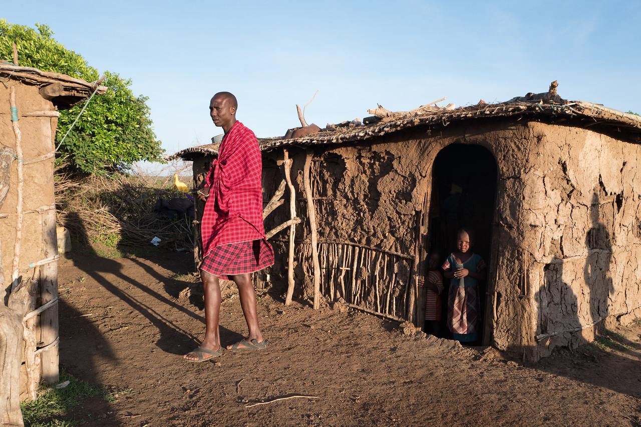 Morning at a Masai Village.  Masai-Mara, Kenya