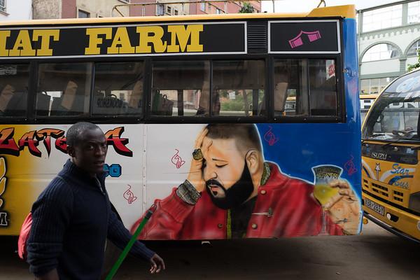 Rushing to a morning bus in Nairobi, Kenya