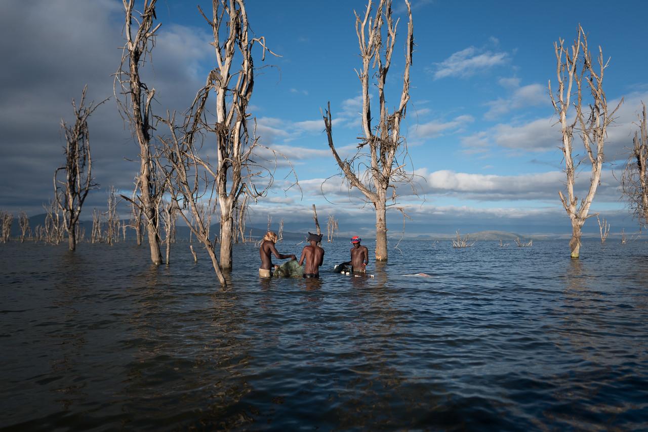 Fishermen at Lake Naivasha, Kenya