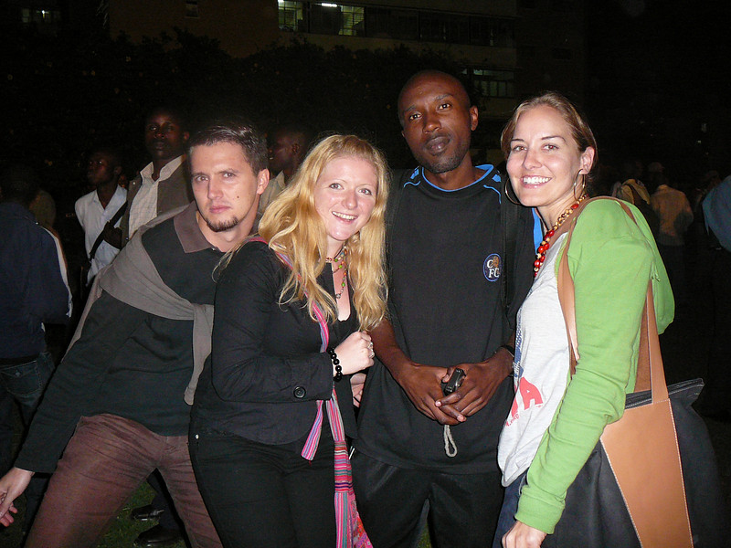 With my German friend Lars, my Irish friend Ang and my Kenyan friend Wainaina celebrating a new American president.