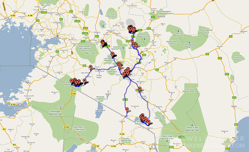 This is the map of where we traveled.  The blue lines indicate our route and the pushpins are where photos from this album where taken. We started in Nairobi (center of the route) and traveled back and forth from there to other locations every few days.