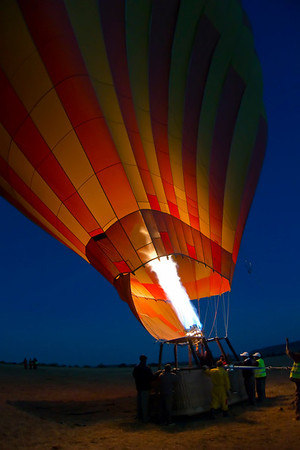 Filling the balloon before sunrise, Masai Mara