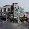 A street corner view at downtown Ketchikan, Alaska.