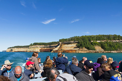 We're on a tour boat viewing Pictured Rocks National Park