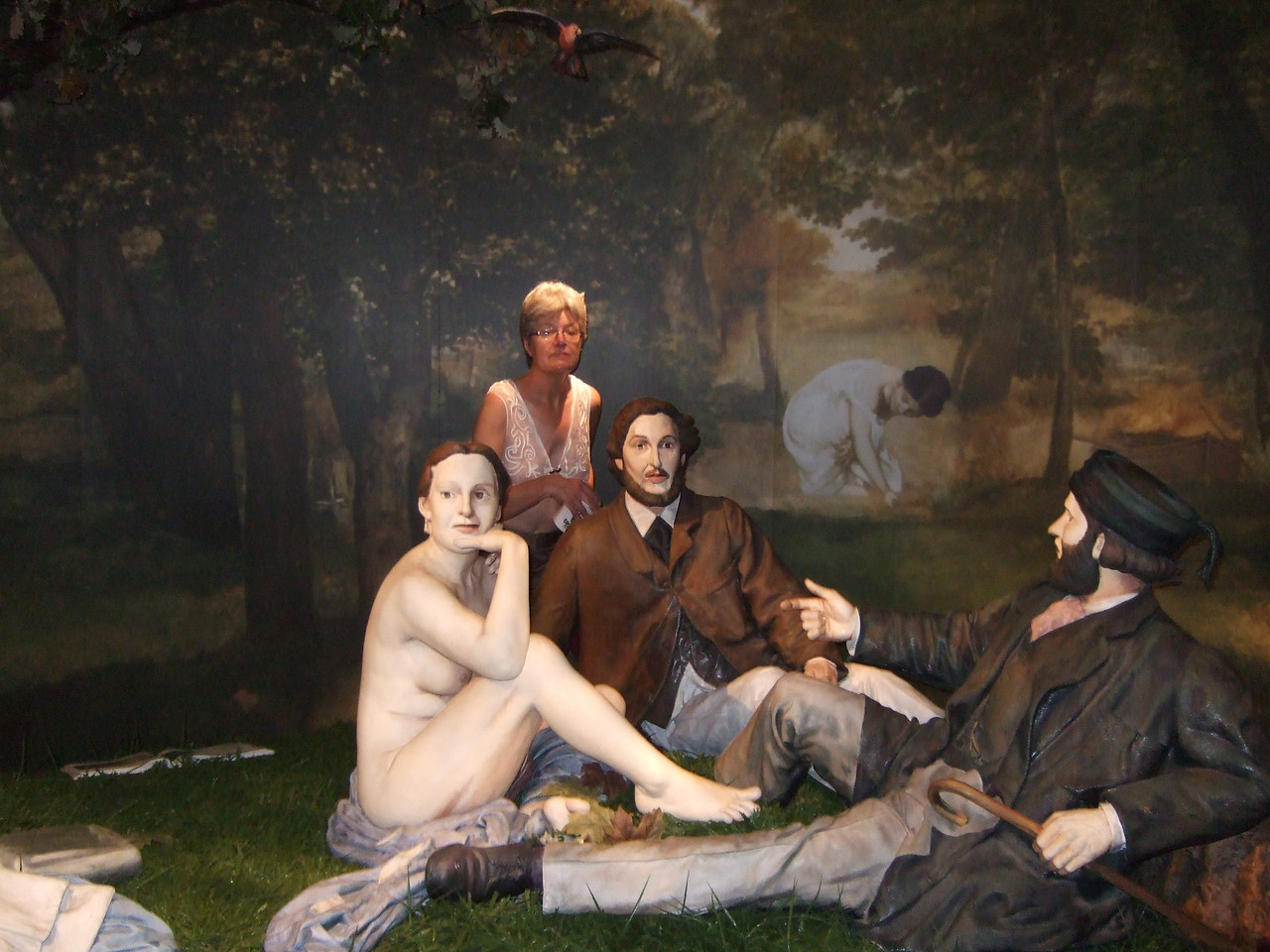 """Louise intruding in the picnic, based on the painting by Manet: <a href=""""http://www.abcgallery.com/M/manet/manet6.html"""">http://www.abcgallery.com/M/manet/manet6.html</a>"""