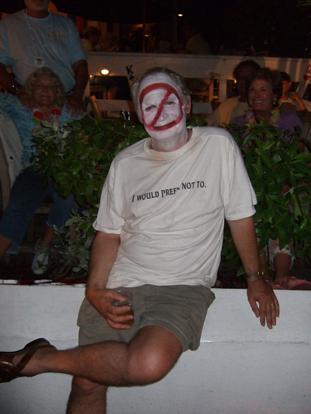 """Read the guy's t-shirt. This is probably an existential statement, but I don't understand existentialism at all. He said it's a line from Bartleby the Scrivener by Herman Melville. See  the review at <a href=""""http://en.wikipedia.org/wiki/Bartleby_the_Scrivener"""">http://en.wikipedia.org/wiki/Bartleby_the_Scrivener</a> for more information on the importance of the line. It's funny here because this guy was at Fantasy Fest, where people vie to get their photos taken."""