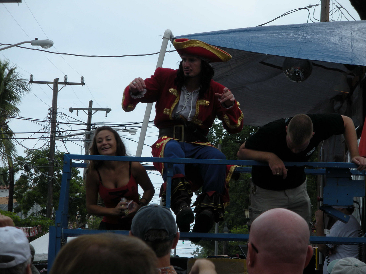 Captain Morgan rum seems to be a big sponsor of Fantasy Fest. It was hot and muggy, and we really felt for this guy who was _very_ active and walked the street posing for photos with people and being very good humored.