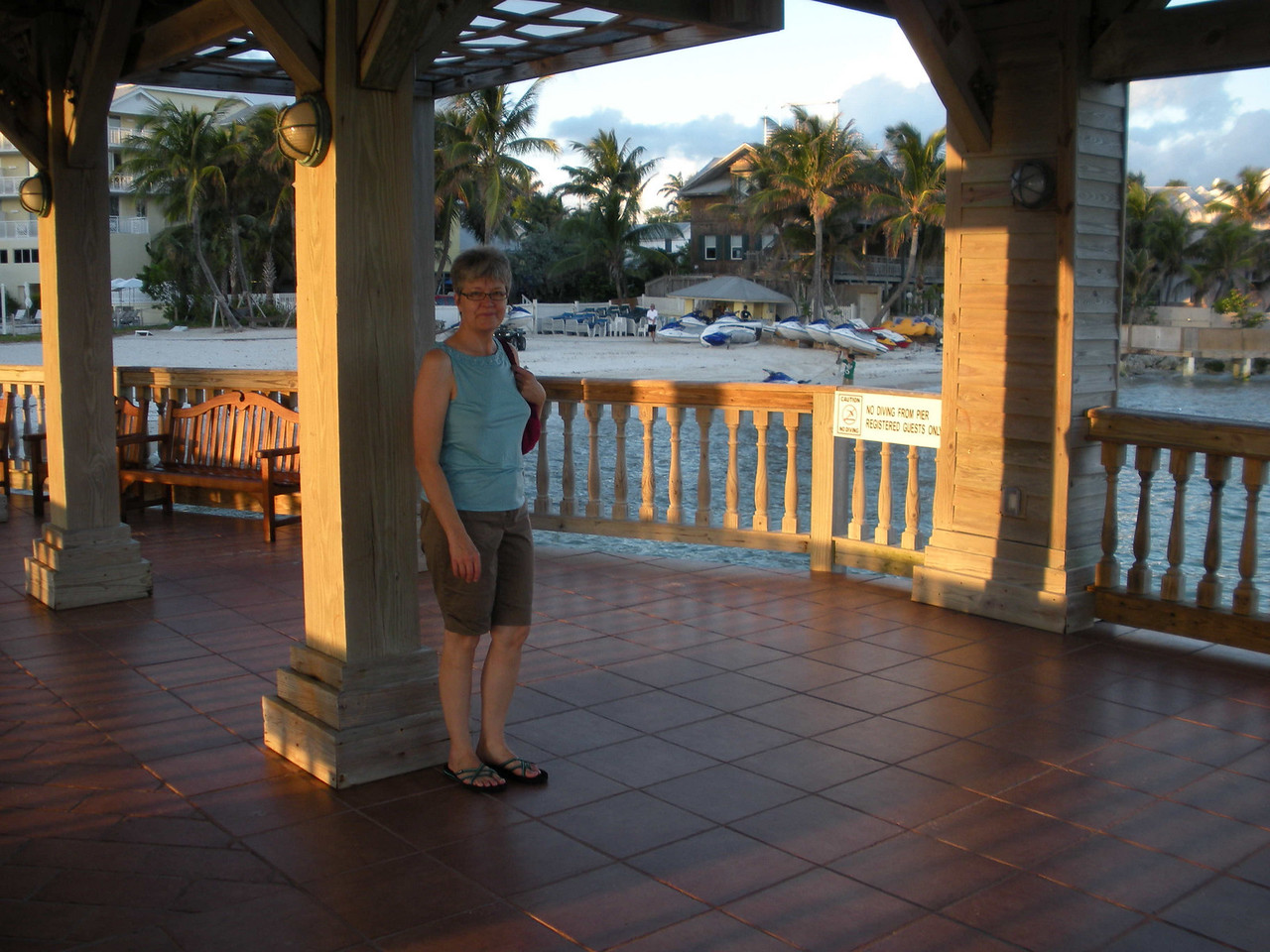 Louise on the pier outside our hotel, The Reach. It's grasp exceeded its reach, I'm sorry to say. Not recommended.