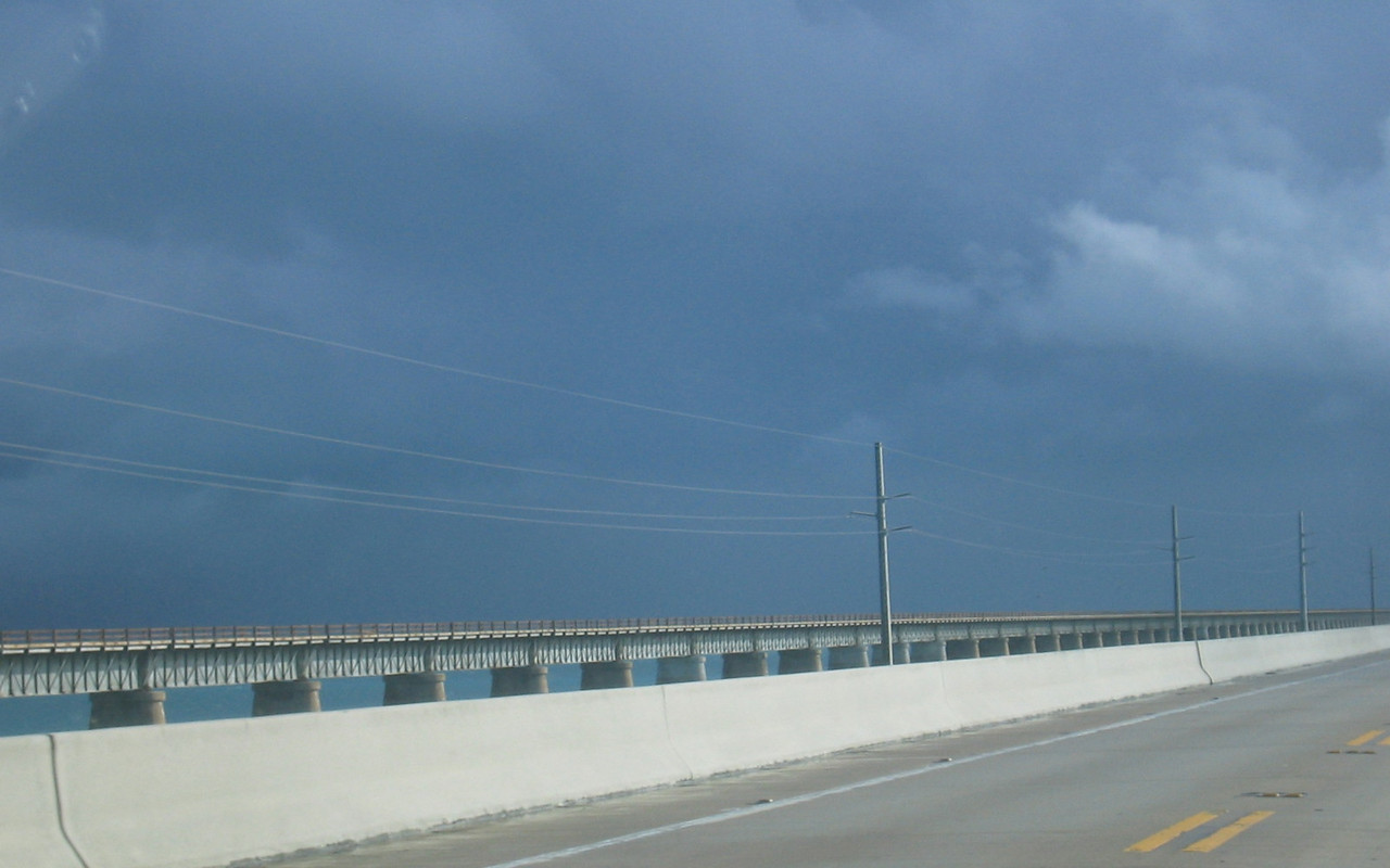 We're driving under the edge of a storm cell.