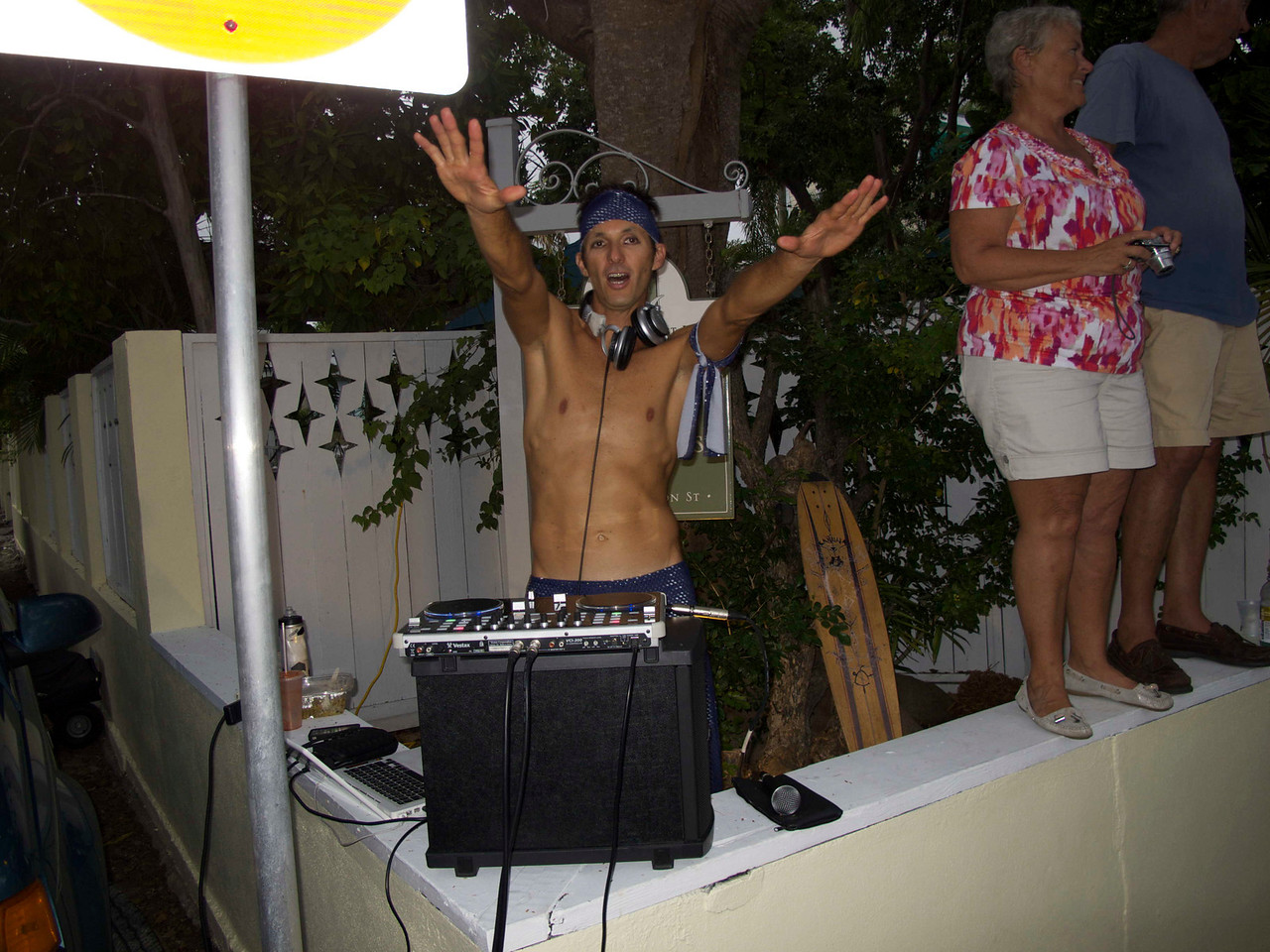 The DJ for one of the street parties outside our hotel.