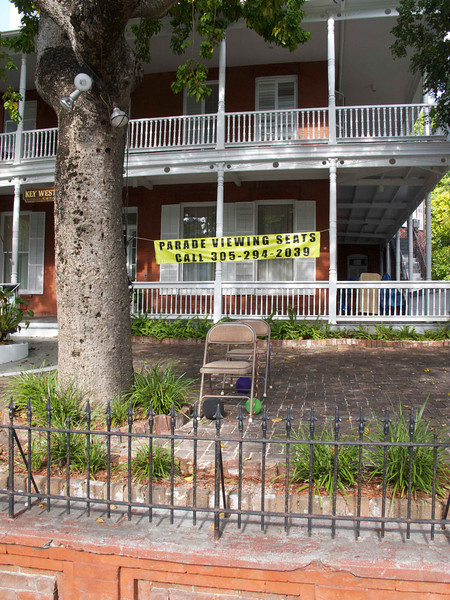 Lots of seats for rent if you want to watch the parade from the safety of the Women's League lawn.