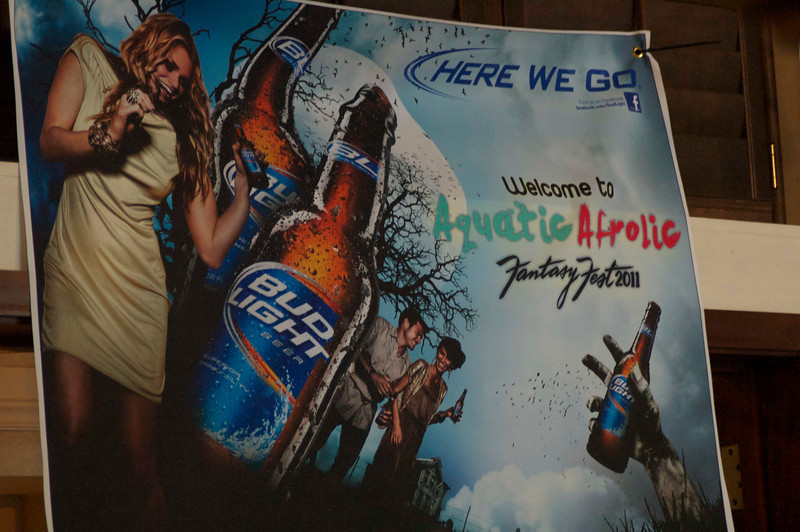 The theme in 2011 was Aquatic Afrolic, apparently sponsored by Bud Light.