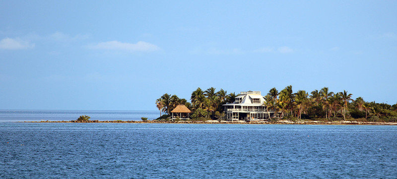 Fancy home on a spit as we leave Key West