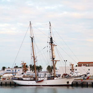 The Education Association schooner in the marina