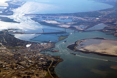 Baytown, TX, and the Baytown Bridge, seen from the air.
