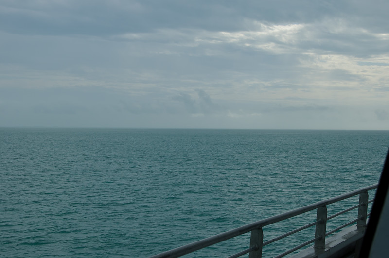 Barely able to see land (use some imagination), on approach to Key West